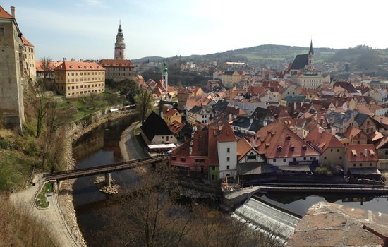 Historic Center of Cesky Krumlov : View of the town from near the entrance to the castle