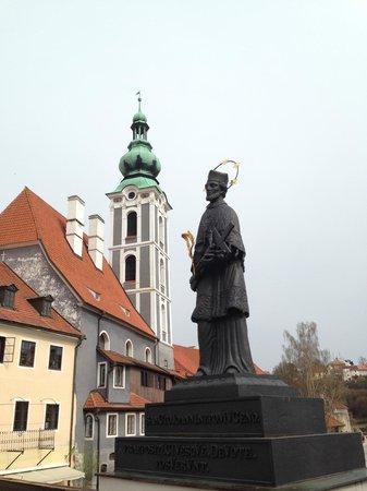 Historic Center of Cesky Krumlov : Statue of St. John Nepomuk, a nationally revered saint in the Czech Republic