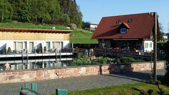 Landgasthof Hessenmuhle : Blick auf die Wohlfühlapartments und die Fischerhütte