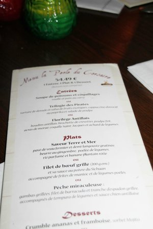Blue Lagoon Restaurant - Disneyland Paris : Carte du resto