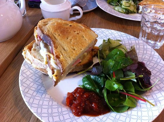 Janey Mac: Delicious toasted ham and cheese with salad and pickled cucumber.  Mouth watering soooooooo good