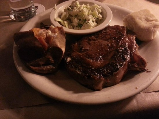 Ted's Montana Grill: Ribeye Steak, Sweet Potato and Cole Slaw