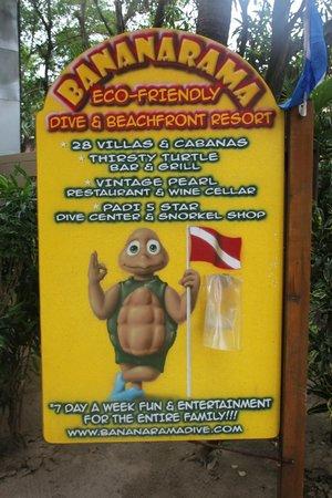 Bananarama Beach and Dive Resort: Resort sign