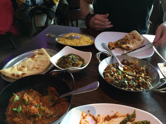 Naidni Indian Restaurant: Our feast, mid-consumption.