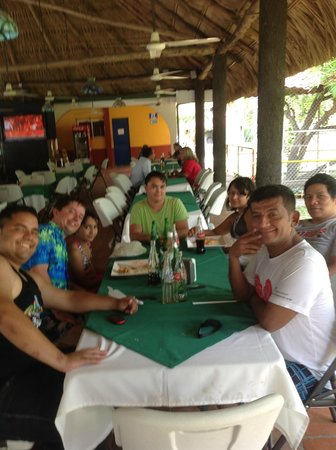 Pato Canales Hotel and Resort: Having lunch under the big cabana!
