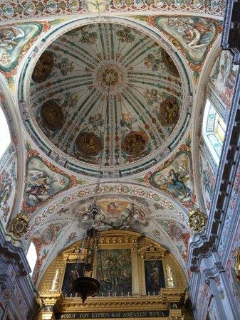 Hospital de los Venerables: The ceiling of the church.