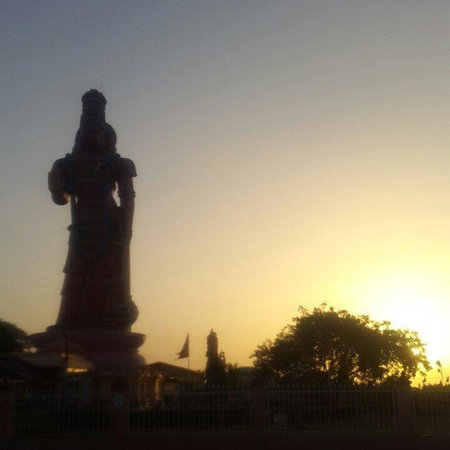Dattatreya Temple and Hanuman Statue: Sunset silhouette