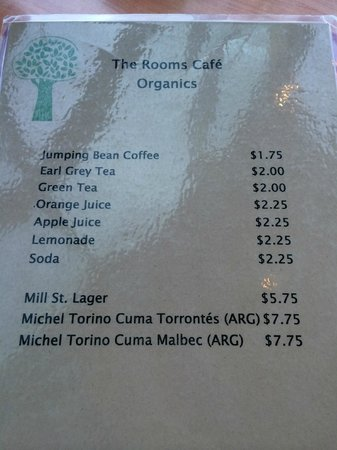 The Rooms Cafe: Drink Options