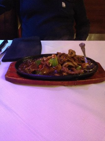 East: Sizzling beef with black pepper sauce