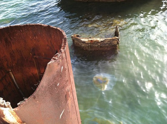USS Arizona Memorial: leaking oil near turret