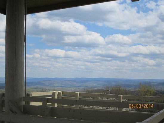 Twin Falls State Park: One side of the observation tower. A MUST SEE!