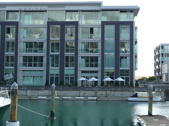 Sofitel Auckland Viaduct Harbour: view of hotel from across the water