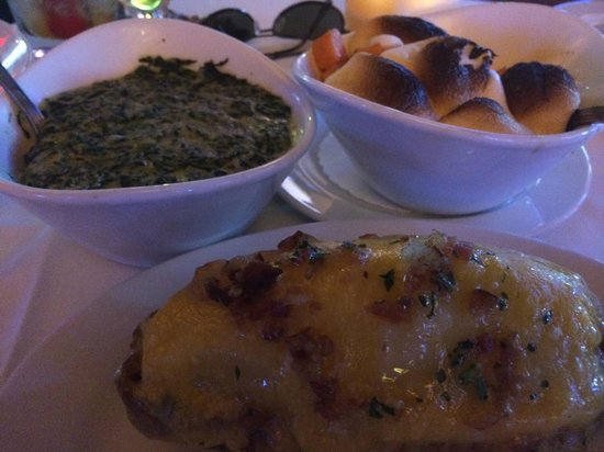 Ocean Prime: Creamed spinach, candied yams with marshmallows, twice baked potato