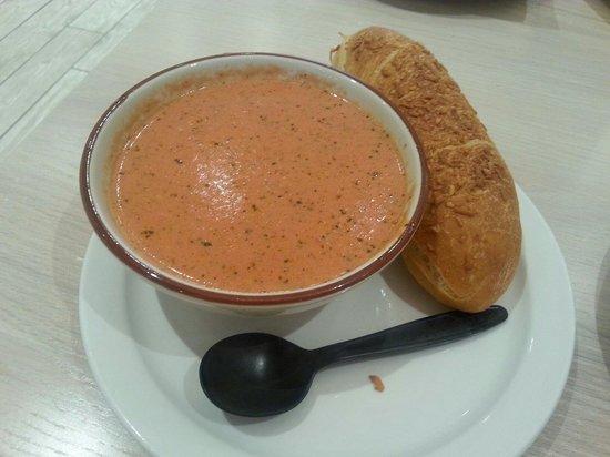 Bountiful Bread: Tomato Pesto Soup w/(awesome) Breadstick
