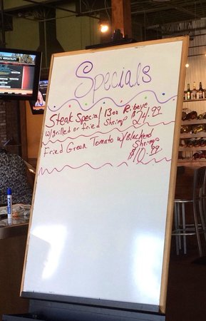 Chesterfield's Bar and Grill: Sunday 5/4/2014 specials board