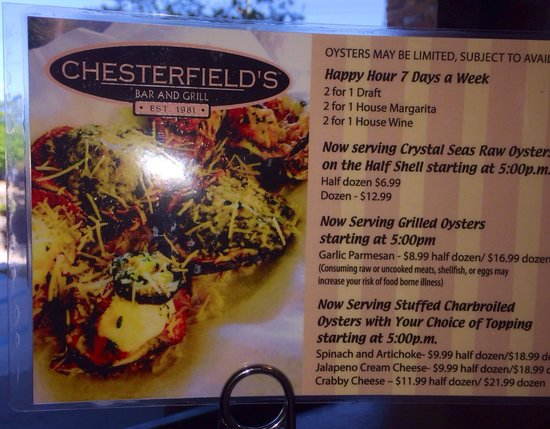Chesterfield's Bar and Grill: Get your oysters topped!!