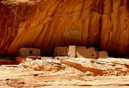 Canyon de Chelly Tours : Ancient Indian Ruins in the wall of the Canyon