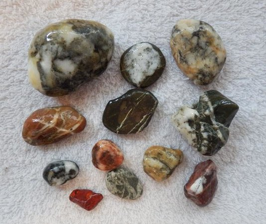 Ocean Shores, WA: Interesting rocks collected from beachcoming