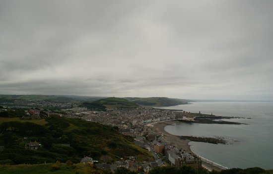 Aberystwyth Cliff Railway: View from the top station of the railway of the town