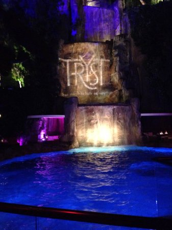 Tryst: View from table of waterfall. Adds class to the place