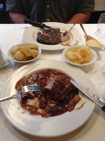 Au Boeuf Couronne: Rib steak and duck breast. Rib steak too thin and too much sauce for the duck breast.