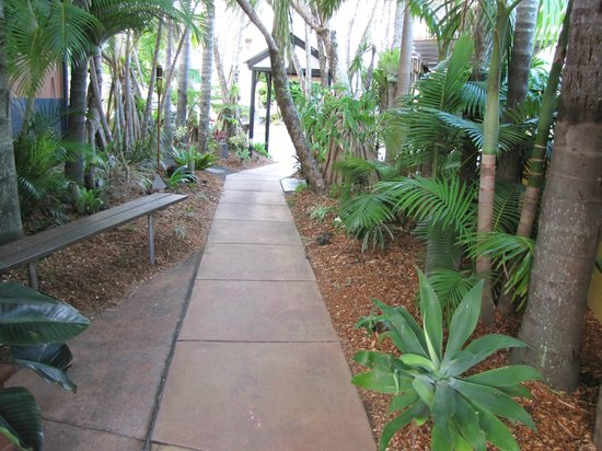 Noosa Backpackers Resort: Beautiful gardens into the entry