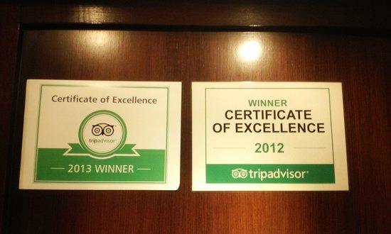 The Yorkshire Inn Hotel, Bar & Restaurant : Certificate of Excellence