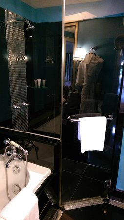 The Scarlet Singapore: Swank Suite - shower and baathtub!