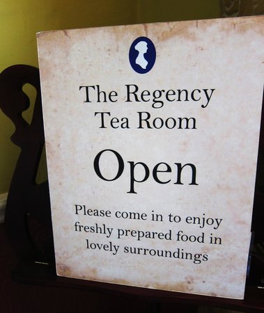 The Jane Austen Centre : At the entrance to the Regency Tea Room.