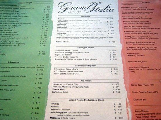 Pizzeria Grand'Italia : Tovaglietta con menu