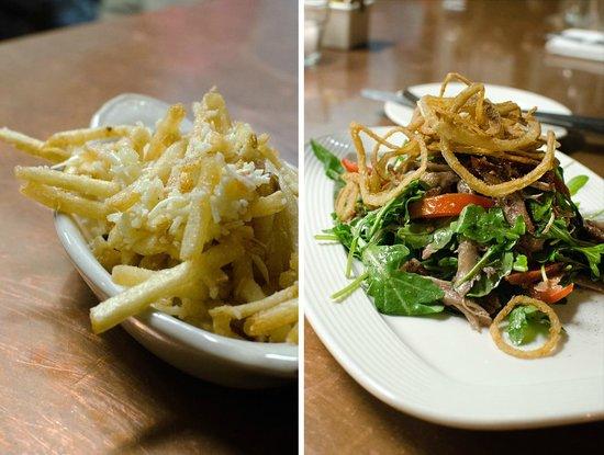 Cru Cafe : Parmesan truffle fries - Duck confit arugula salad