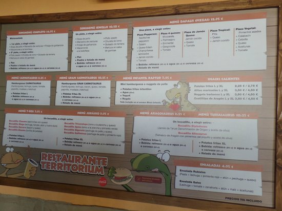 Teruel, Spain: cartel de los menus