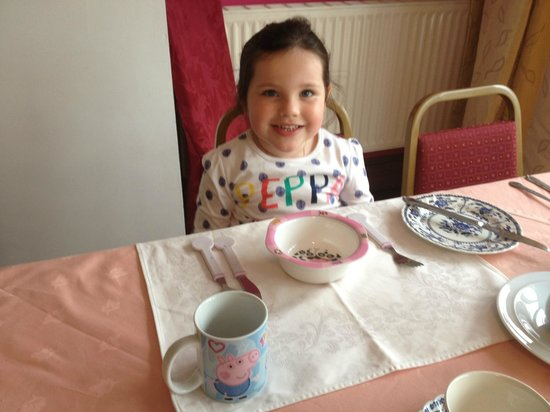 Packridge Bed and Breakfast: Taylor with her Peppa Pig breakfast setting