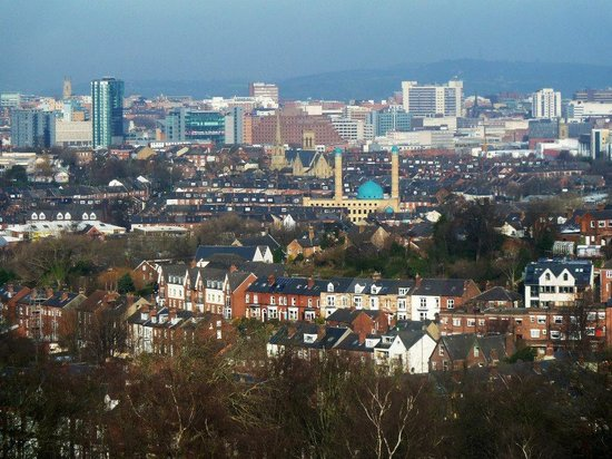 Sheffield, UK : View of the city centre from Meersbrook Park