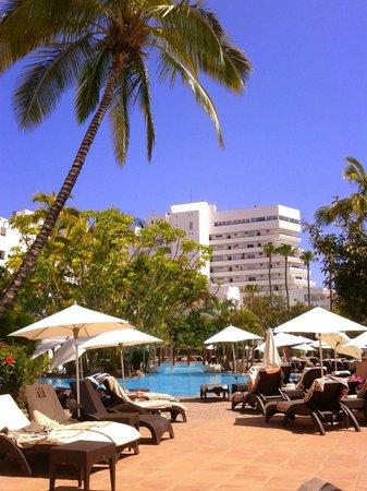 Hotel Jardín Tropical: Vista desde la hamaca donde estaba situado en la piscina