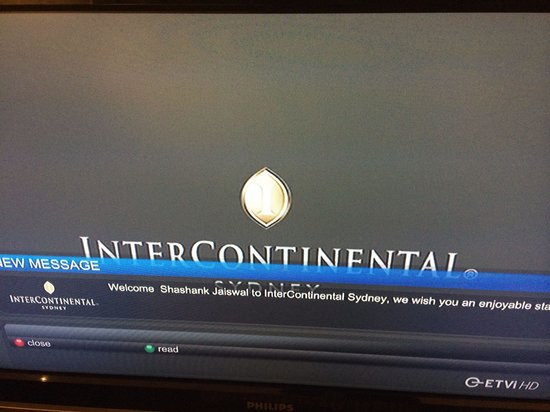 InterContinental Sydney: Welcome note from the hotel