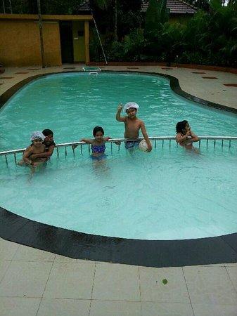 Vythiri Village Resort: kids enjoying in the pool