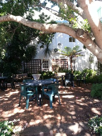 Windsor Hotel & Apartments : Back garden - lovely seating area under a beautiful tree