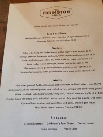 The Ebrington Arms: Menu Monday 5th May, there were several specials in addition.