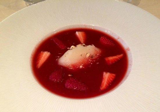 Dix-Huit: Gaspacho fraises et sorbet passion !!!
