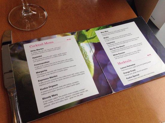 Clarion Hotel Liffey Valley: The wonderful cocktail menu