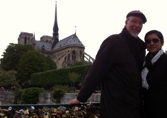 Left Bank Scooters : Wife and I with Notre Dame back drop