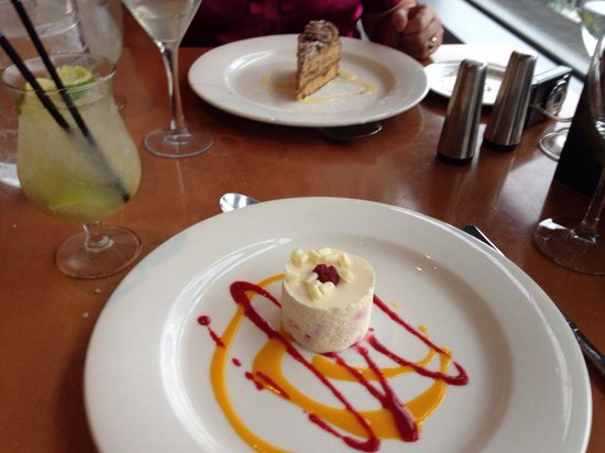 Clarion Hotel Liffey Valley: White chocolate and raspberry mousse and the cappuccino cake