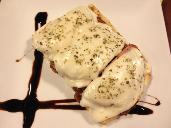 9 Granados Restaurant: I think this was the ham topped with mozzarella...