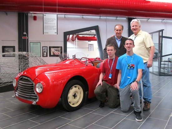 fabio with all of us, and ferruccio's first 'race' car - picture of