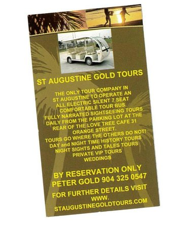 St. Augustine Gold Tours: Gold Tours card
