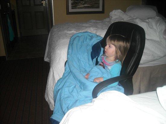 Hampton Inn Holland: watching cartoons in the morning...
