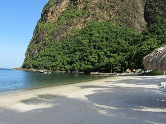 Jalousie Beach: View of the beach facing the Pier and Petit Piton in the background