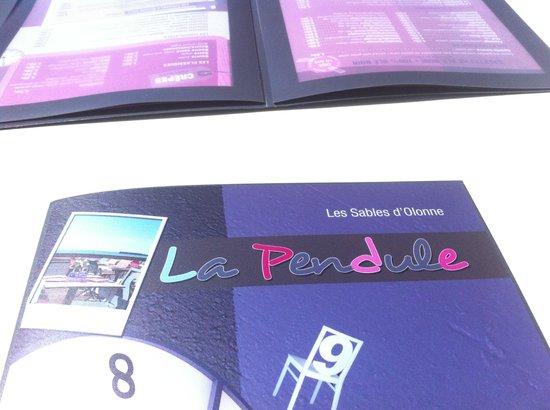 La Pendule: Carte des Menus.