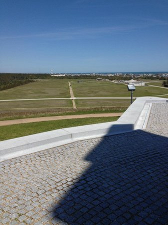 Wright Brothers National Memorial: Looking down to the landing field from take-off area